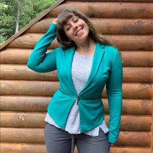 Mossimo Teal Fitted Zipper Jacket Blazer Small